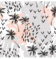 abstract minimal palm trees seamless pattern vector image