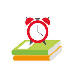 alarm clock with books vector image