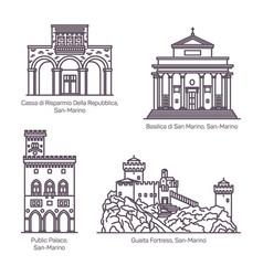 architecture landmarks san marino in thin line vector image
