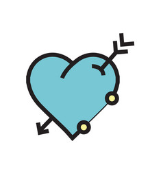 Arrow on heart icon blue vector
