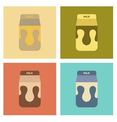 Assembly flat icons coffee carton of milk vector