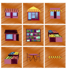 assembly flat shading style icons shop interior vector image