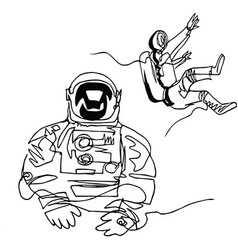 Astronauts in spacesuit in space continuous line vector