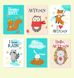 autumn animal card set isolated vector image