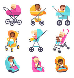 baby carriage children in kids strollers boys vector image