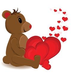 Bear with multiple love hearts vector