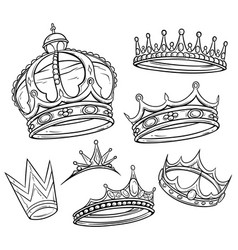 black and white king crown set vector image