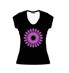 black women t-shirt with serenevoy mandala mockup vector image