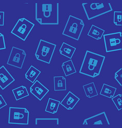 Blue document and lock icon isolated seamless vector