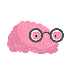 brain glasses genius of human brains egghead mind vector image