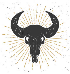 buffalo skull isolated on white background design vector image