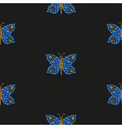 Butterfly mosaic pattern vector image vector image
