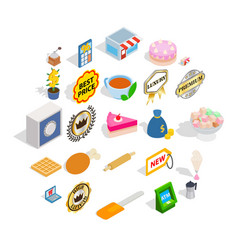 Caff icons set isometric style vector