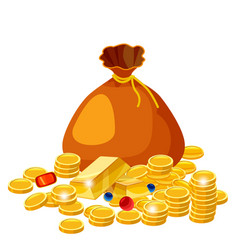 cartoon big old bag with gold coins jewelry cash vector image