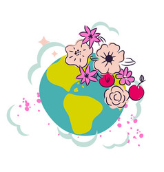 cartoon earth with flower crown decor clipart vector image