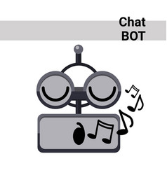 Cartoon robot face smiling cute emotion sing chat vector
