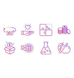 Chemistry lab 24h service and banking money icons vector