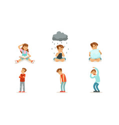 Children are sad and cry set vector