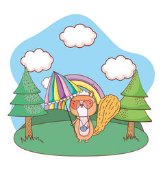Chipmunk with umbrella and sunglasses in the field vector