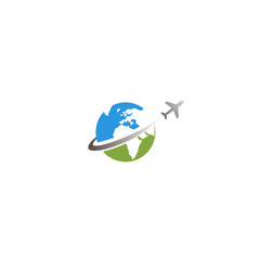 circle earth planet airplane creative logo design vector image