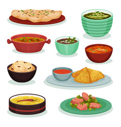 collection of traditional indian food chapati vector image