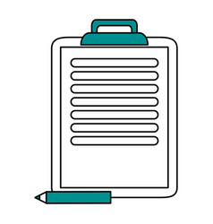 Color silhouette cartoon clipboard with text and vector