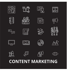 content marketing editable line icons set vector image