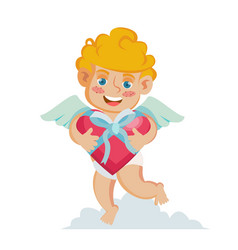 Cupid happy valentine s day holding a box vector
