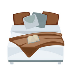 dark double bed with pillows and open book in vector image