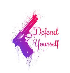 Defend yourself grunge design with pistol gun vector