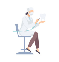 Dentist female in white robe sitting with special vector