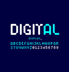 Digital display typeface alphabet and numbers vector