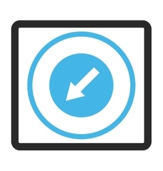 Down-Left Rounded Arrow Framed Icon vector