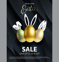 easter sale white black and rose gold poster or vector image