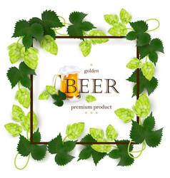 emblem label design with beer mug frame of hops vector image