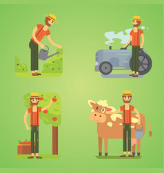 Farmers using agricultural tools set farmer vector