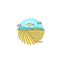 Farming landscape field line icon farm flat vector