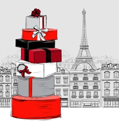 Fashion Big pile of gift boxes on Paris city vector image