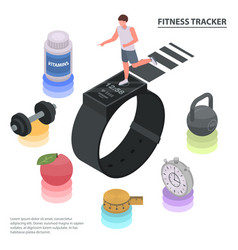 Fitness tracker concept background isometric vector