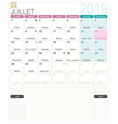 french calendar - july 2019 vector image