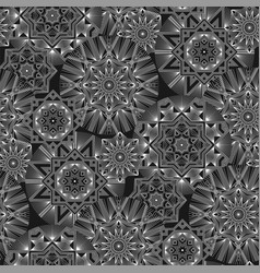geometrical monochrome flowers seamless pattern vector image