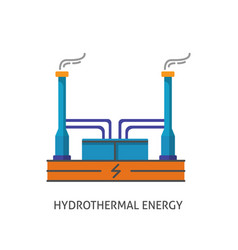Geothermal power plant icon in flat style vector