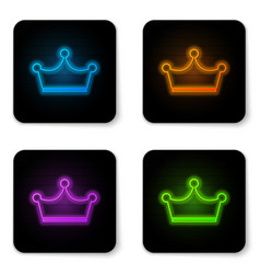 glowing neon crown icon isolated on white vector image