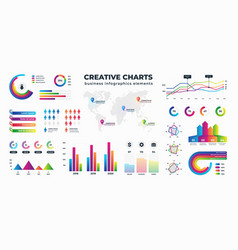 graphs and charts business statistics for data vector image