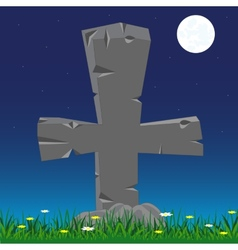 Grave with cross from stone vector