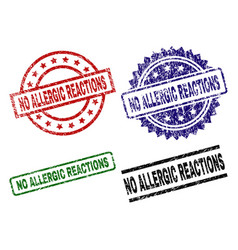 Grunge textured no allergic reactions seal stamps vector