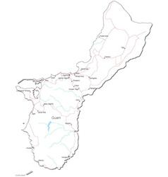 Guam Black White Map vector