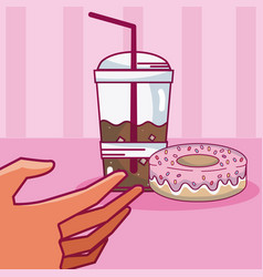 Hand grabbing coffee vector