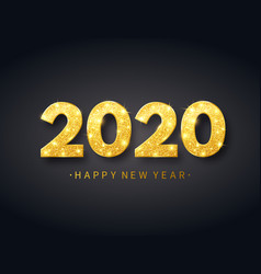 Happy new year 2020 background with gold confetti vector