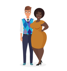 Happy smiling young interracial couple character vector